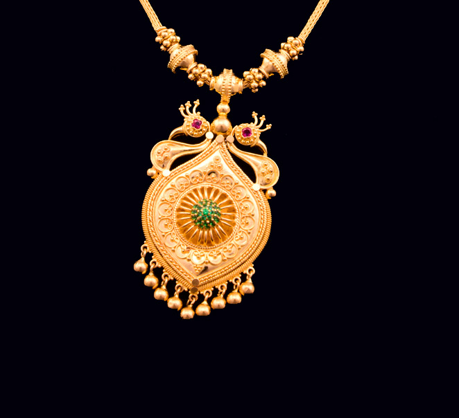 chandbali designs simple jewellery gold necklace with pendant